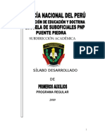 Silabo desarrollado de  Primeros Auxilios PNP