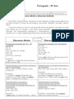 Ficha de Reforço Sobre Discurso Direto e Discurso Indireto - Explicação