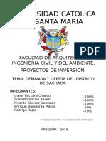 Oferta y Demanda del Sector de Sachaca - Arequipa
