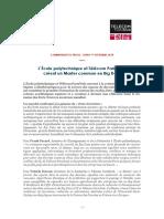 Communiqué de Presse _ L École Polytechnique Et Télécom ParisTech Créent Un Master Commun en Big Data