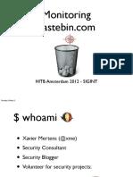 D1 SIGINT - Xavier Mertens - Pastebinmon and Leakedin