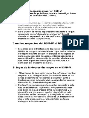 Trastornos De Depresión Mayor En Dsm Rev Manual Diagnóstico Y Estadístico De Los Trastornos Mentales Depresión Estado De ánimo