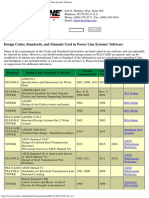 Design Codes, Standards, And Manuals Used in Power Line Systems' Software