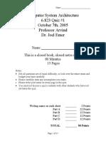 6.823 Computer System Architecture Quiz 1