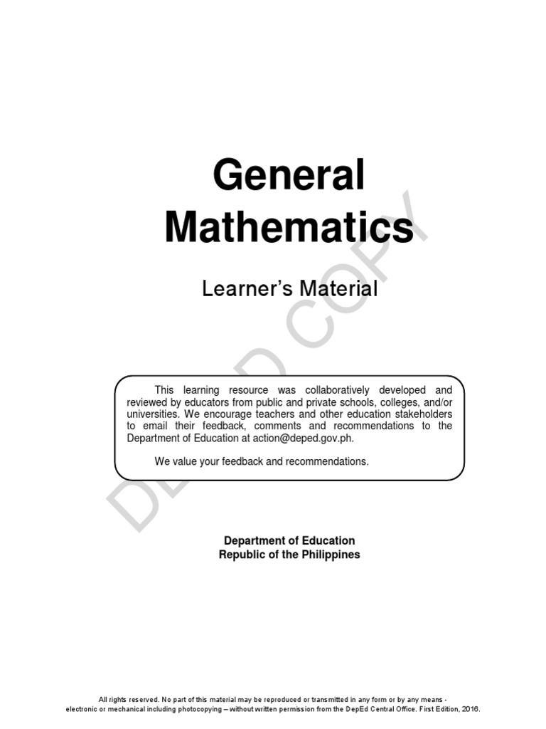General Math LM for SHS | Fraction (Mathematics) | Function ...