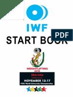 FISU University Weightlifting World Championships Start Book