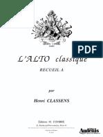 Classens Lalto Classique Recueil a Viola e Pianoforte