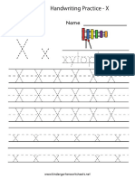 Letter x Writing Practice Worksheet