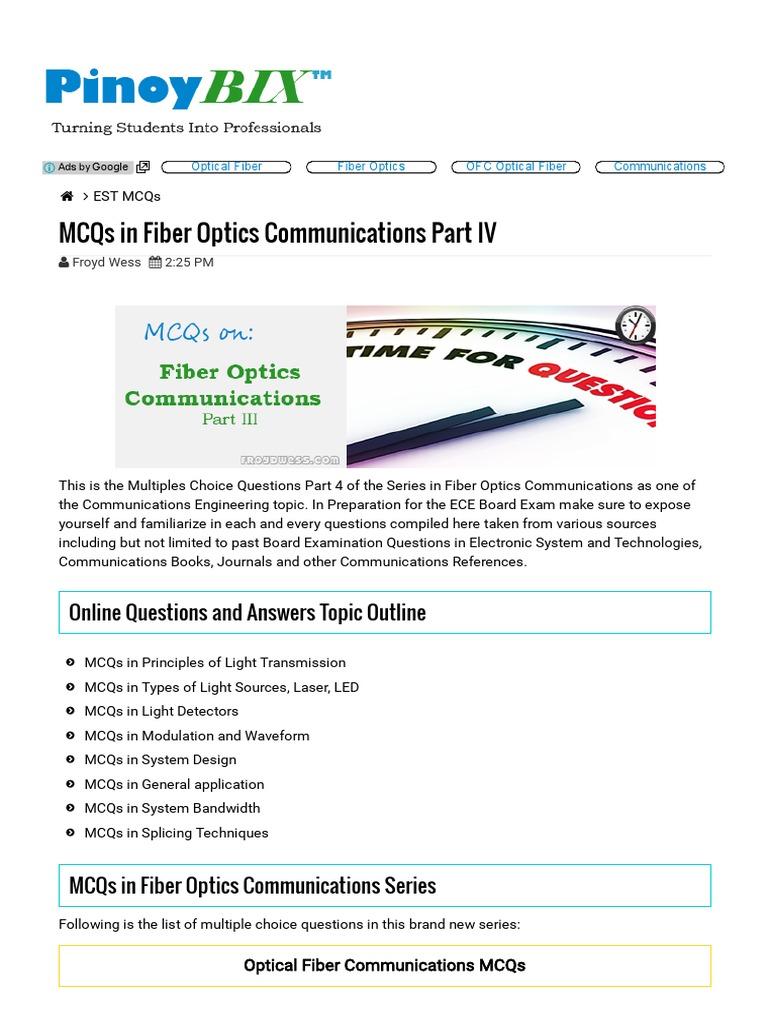 MCQs in Fiber Optics Communications Part IV _ PinoyBIX