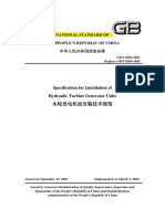 209913443 GBT 8564 2003 Specification for Installation of Hydraulic Turbine Generator Units