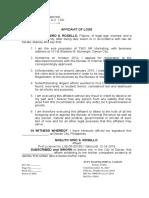 Affidavit of Loss - Noelito Niño S Rosello