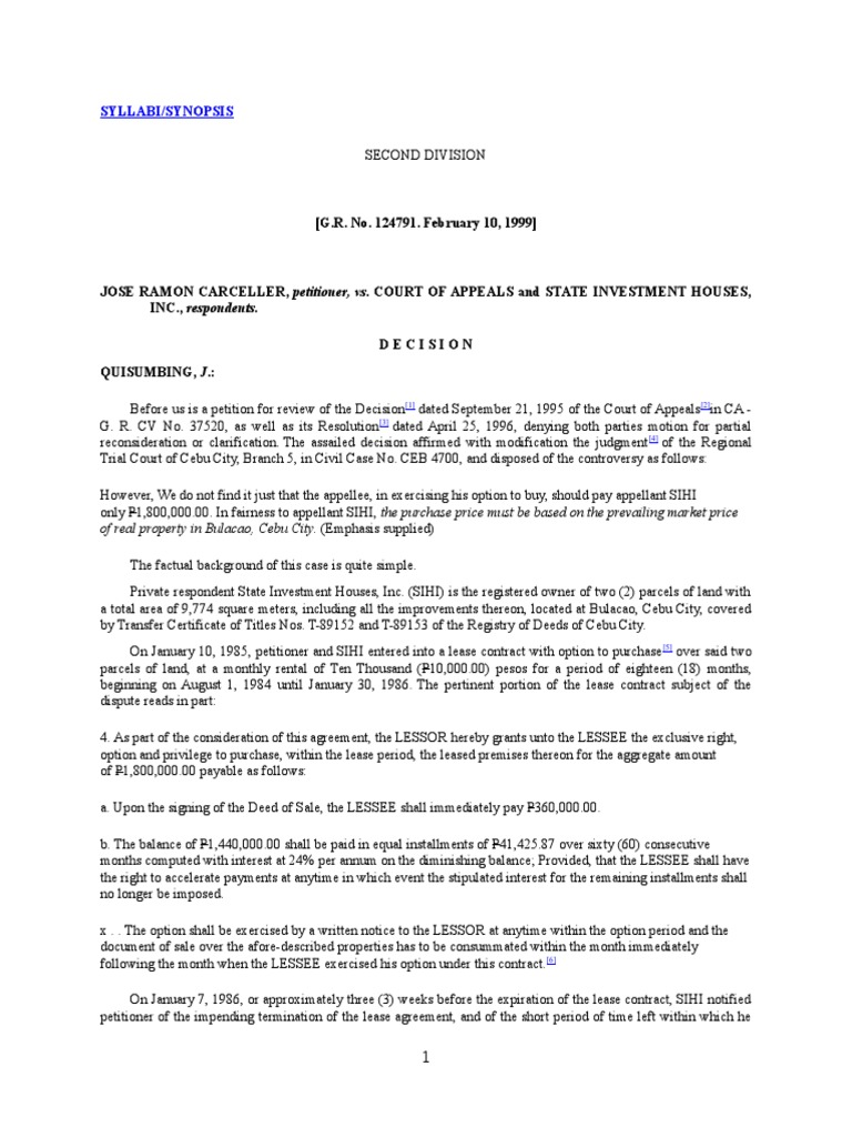 Carcellar Vs Ca Full Text Lease Option Finance