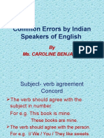 Common Mistakes by Indian Speakers of English