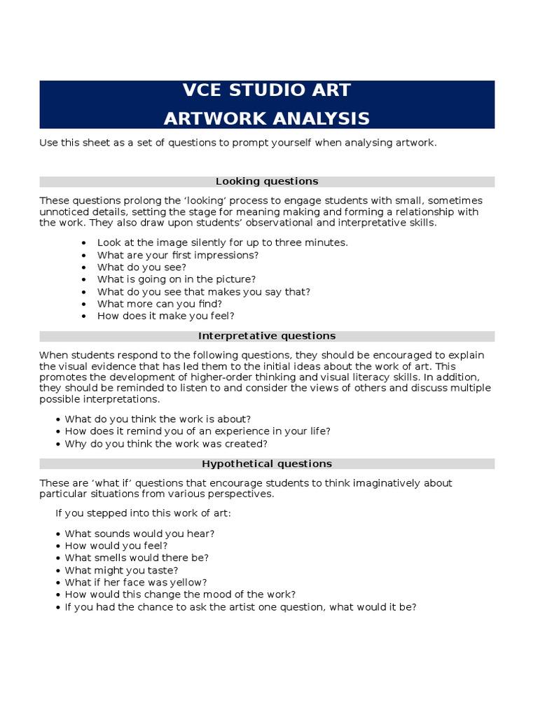 Analysing Art Worksheet