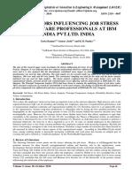 THE FACTORS INFLUENCING JOB STRESS OF SOFTWARE PROFESSIONALS AT IBM INDIA PVT.LTD. INDIA