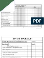 Daily Maintanance Checklist for Machine