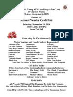 VFW Auxiliary Craft Fair - Nov 19, 2016