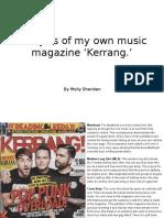 Analysis of My Own Music Magazine Kerrang