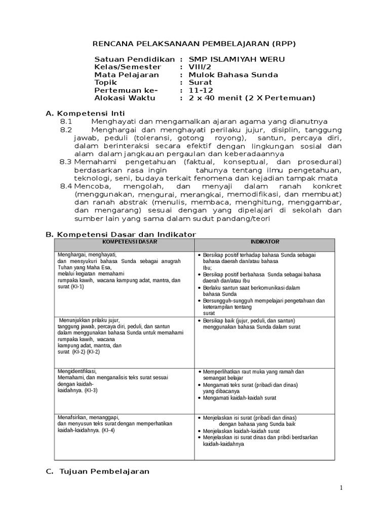 Rpp B Sunda Viii 2 Surat