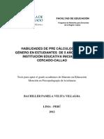 2012 Velita Habilidades de Pre Cálculo Según Género en Estudiantes de 5 Años de Una Institución Educativa Inicial Del Cercado Callao