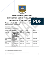 Amendments to the Final Time Table 2016