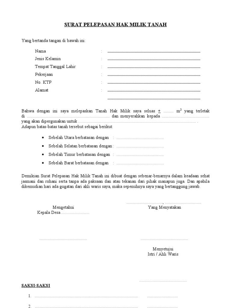 Surat Pelepasan Hak Milik Tanah1