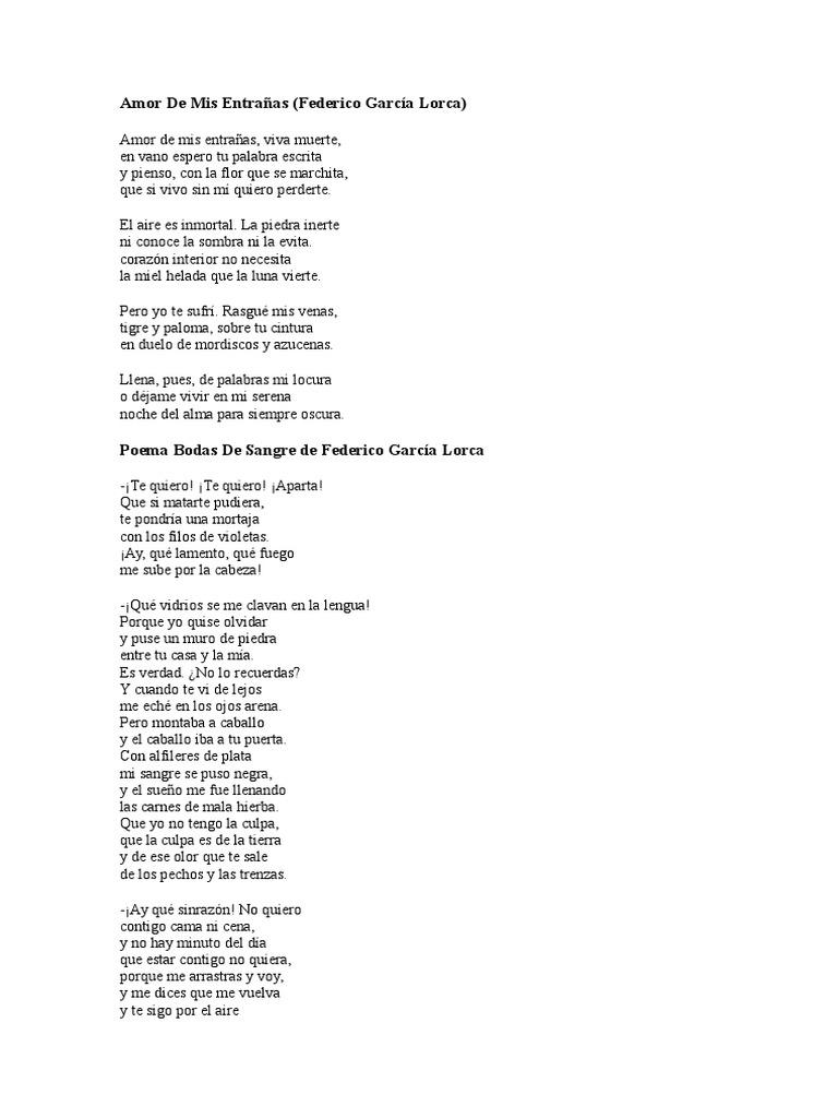 Amor De Mis Entrañas De Federico García Lorca