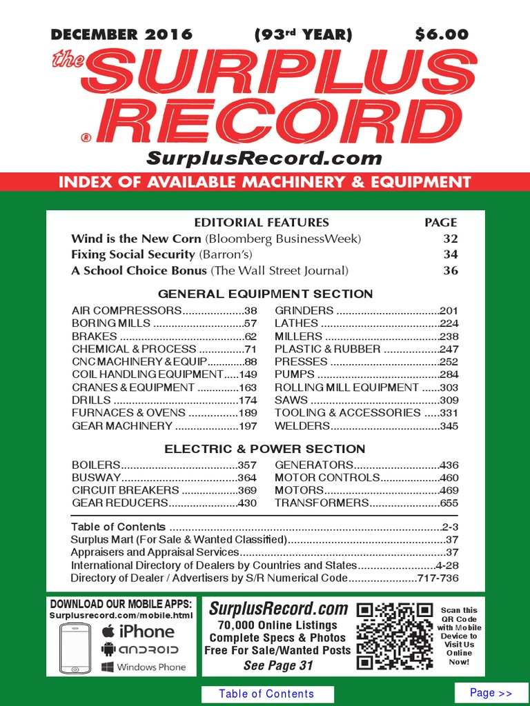 december 2016 surplus record machinery equipment directory