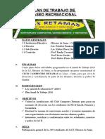 PLAN DE PASEO RECREACIONAL - CLUB RETAMAS