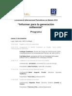 Agenda de la Conferencia Periodismo en Debate 2016
