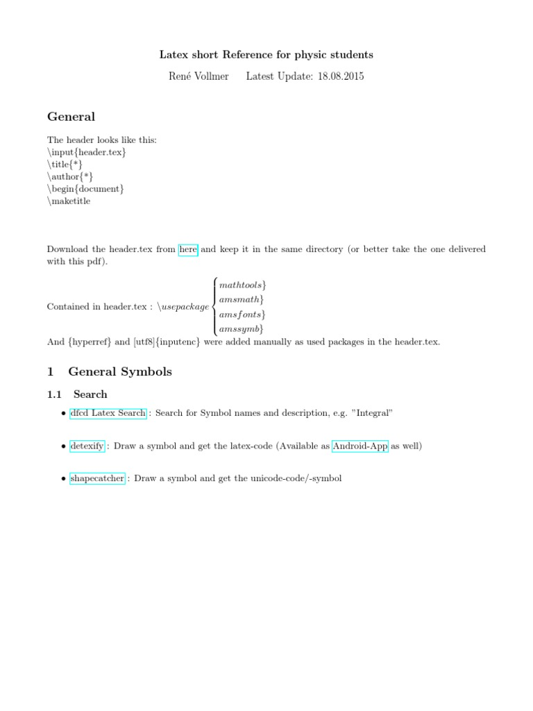 Latex Short Reference For Scientists Te X Operator Theory