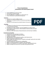 Sports Coach Person Specification