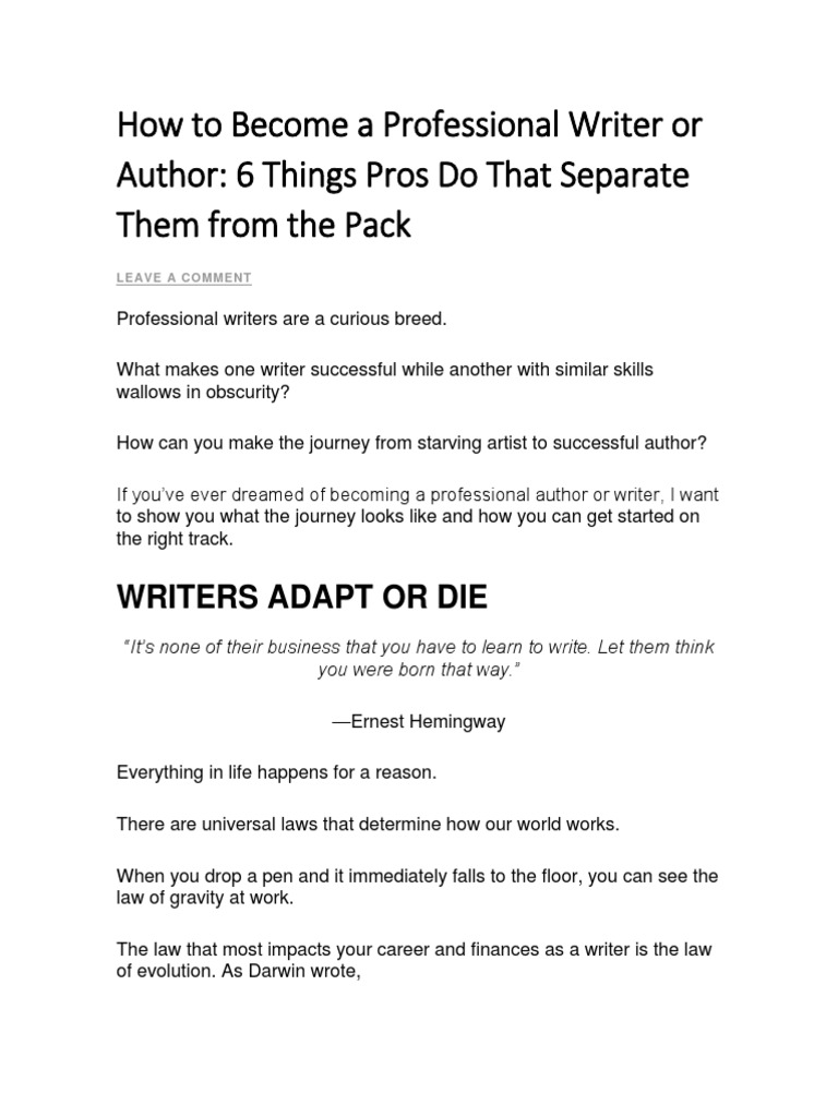 How To Become A Professional Writer or Author  PDF