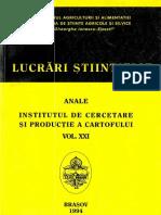 Lucrări Științifice Anale. Institutul de Cercetare Și Producție a Cartofului, Vol XXI