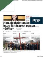 Non, Déchristianiser Les Jours Fériés n'Est Pas Un «Délire» _ Slate