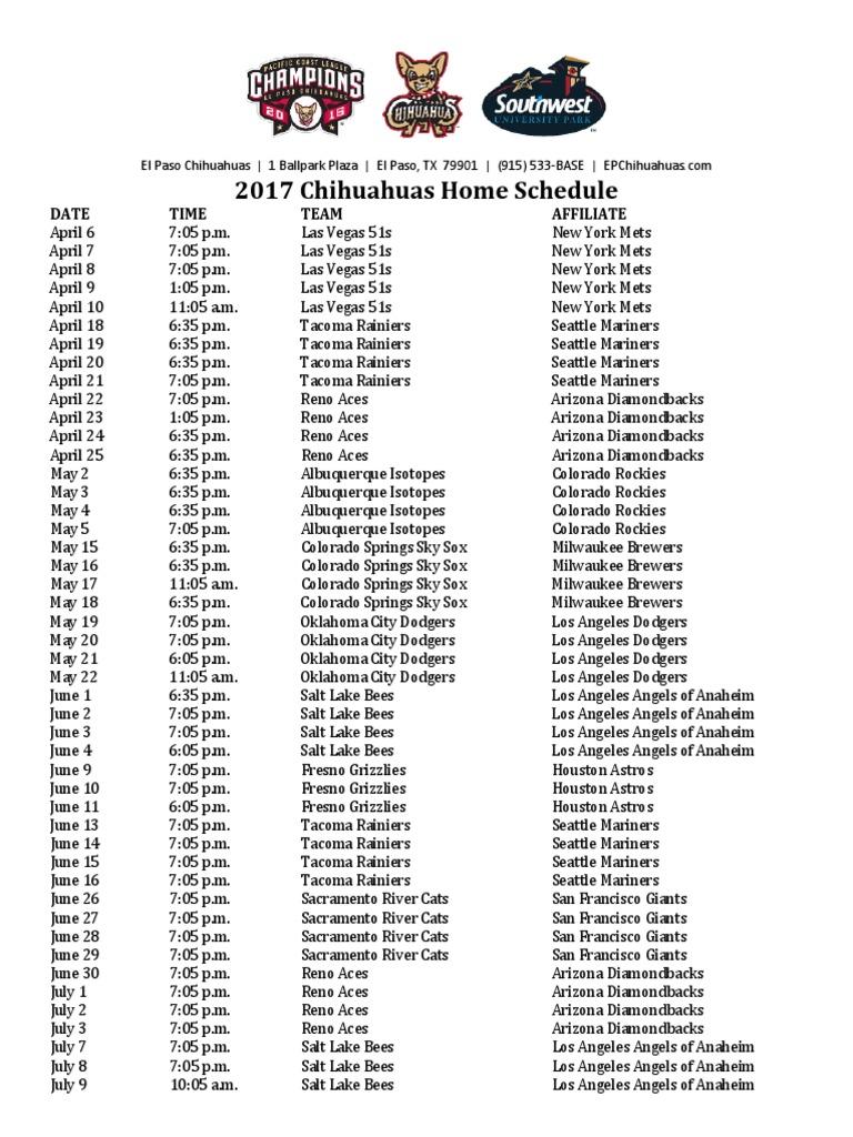 2017 el paso chihuahuas home schedule
