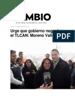 10.11.2016 Diario Cambio - Urge Que Gobierno Negocie El TLCAN; Moreno Valle