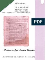 Sobre Las Hazañas de Hernán Cortés-Estudio y Traducción-E. Pellús Pérez-2007-Libro