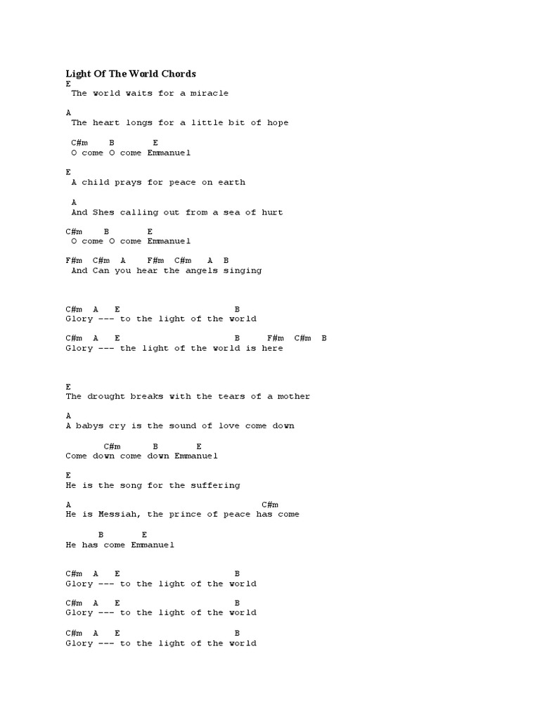 Light of The World Chords