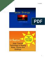 Solar Thermal Energy & Solar Photovoltaic Energy Week 6