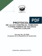 PROTOCOLO de La Ley Contra El Femicidio y Otras Formas de Vi