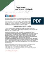 Sejarah Penetapan Penanggalan Tahun Hijriyah