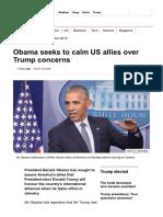 Obama Seeks to Calm US Allies Over Trump Concerns - BBC News