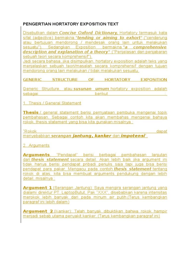 Pengertian Hortatory Exposition Text Docx