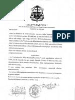 Decreto Vescovo Fausto Tardelli
