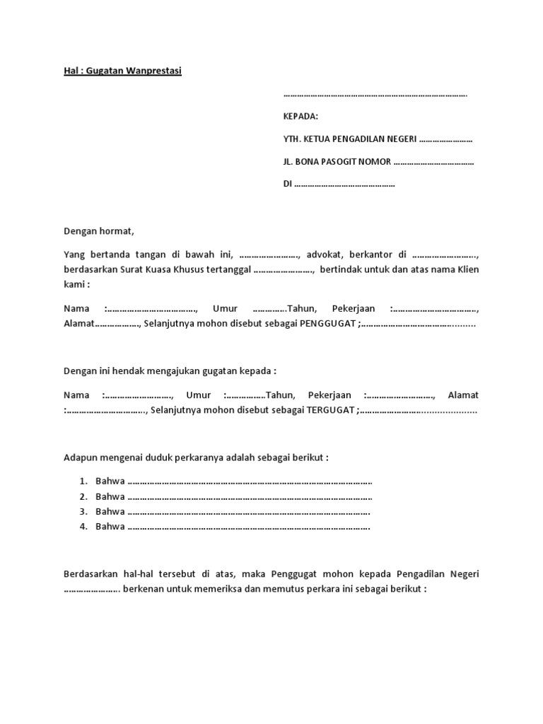 Gugatan Wanprestasi Contoh Surat Kuasa Khusus Perdata Wanprestasi Nusagates
