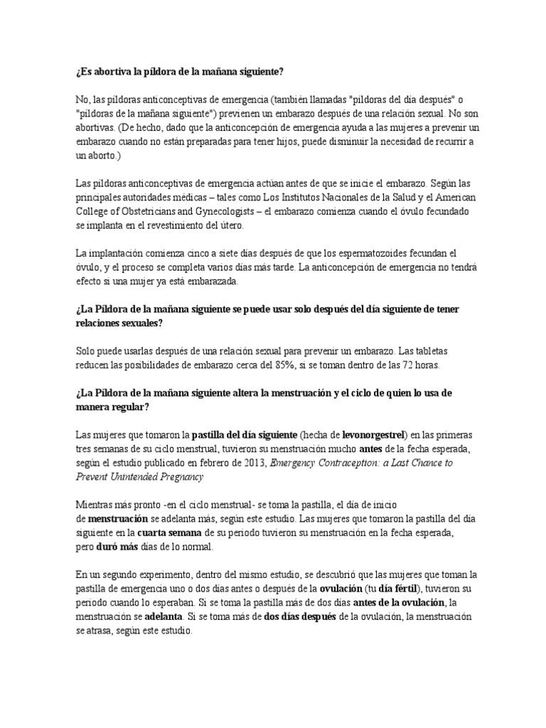 17b1cea99 Es Abortiva La Píldora de La Mañana Siguiente