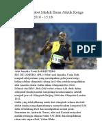 Usain Bolt Sabet Medali Emas Atletik Ketiga