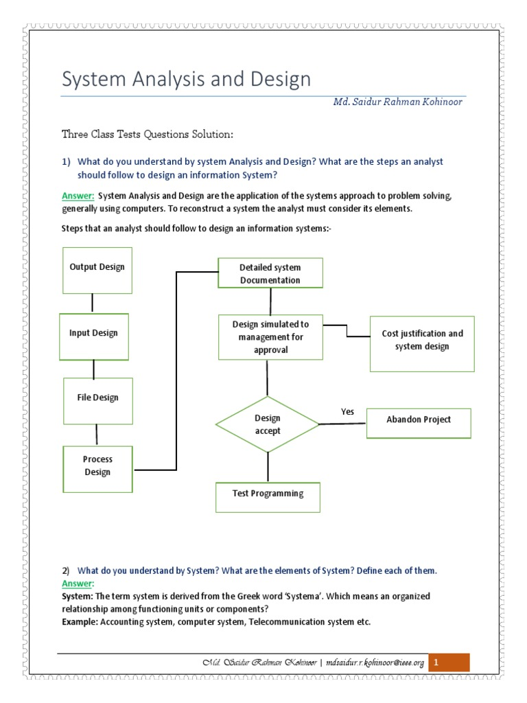 System Analysis Questions Solution Pdf System Feasibility Study