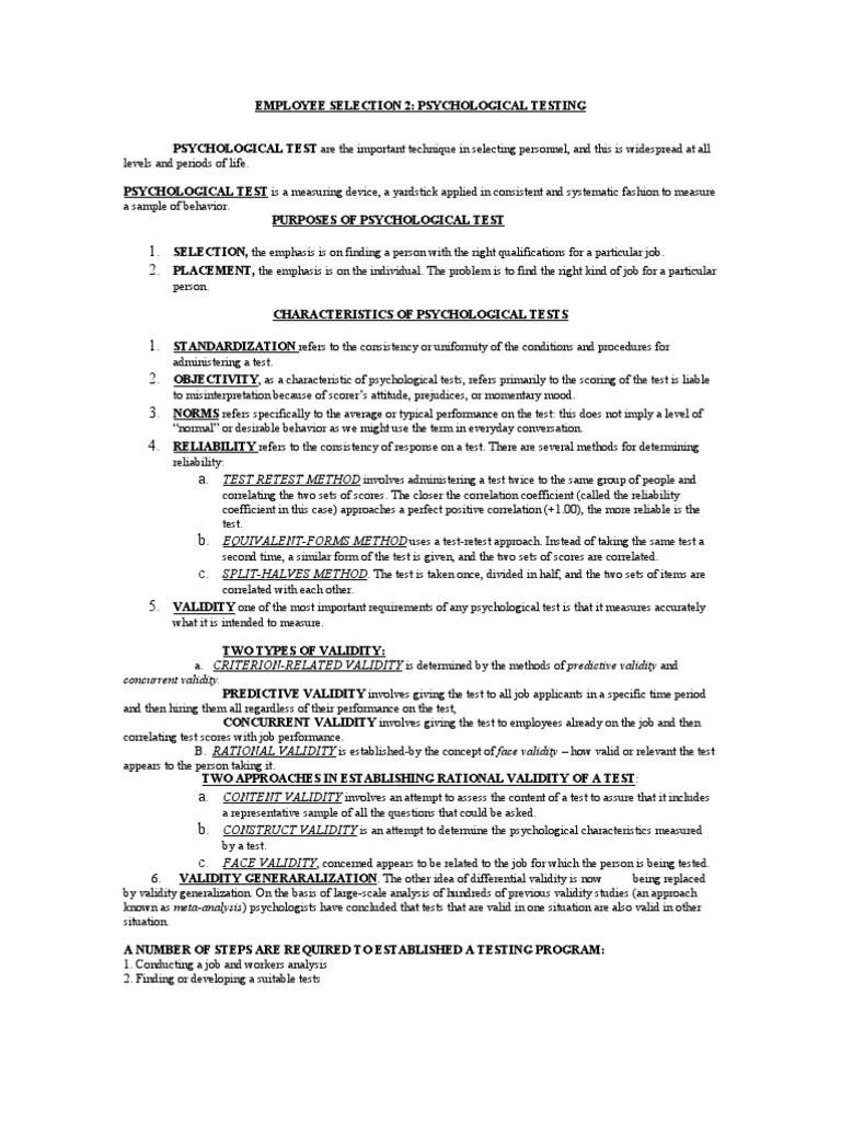 Psychological Testing | Validity (Statistics) | Psychological Testing